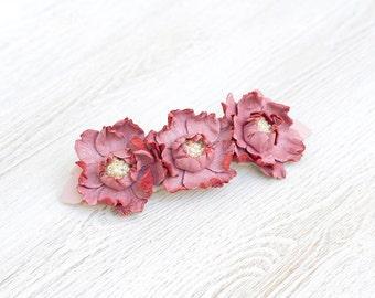 Leather flowers barrette, flower hair barrette, pink barrette, french barrette, wedding barrette, Rose quartz hair clip, Hair Accessories,