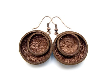 Brown metallic leather circle earrings, bronze Geometric Leather Earrings, lightweigh earrings, boho tribal earrings, gift for her