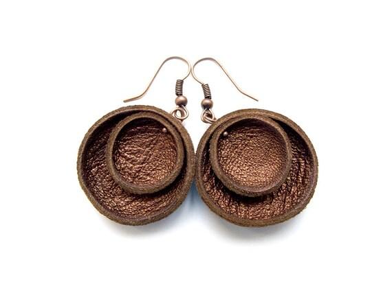 Bronze metallic leather Earrings SALE