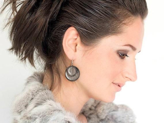 Grey metallic leather circle Earrings SALE