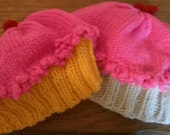 Handknit Girls Cupcake Hats with Pink Frosting and a Cherry on Top - FREE SHIPPING