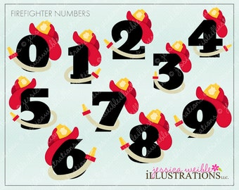 Firefighter Numbers Cute Digital Clipart for Invitations, Card Design, Scrapbooking, and Web Design, Firefighter Clipart
