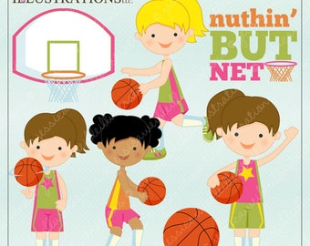 Basketball Girls Cute Digital Clipart for Card Design, Scrapbooking, and Web Design