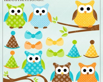 Boy Polka Dot Owls Cute Digital Clipart for Invitations, Card Design, Scrapbooking, and Web Design