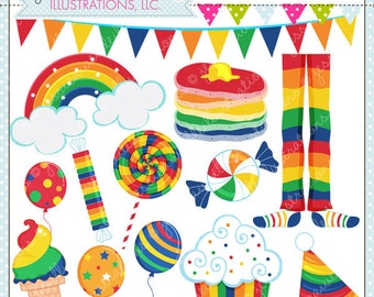 Rainbow Party Cute Digital Clipart for Commercial or Personal Use, Rainbow Clipart, Rainbow Graphics
