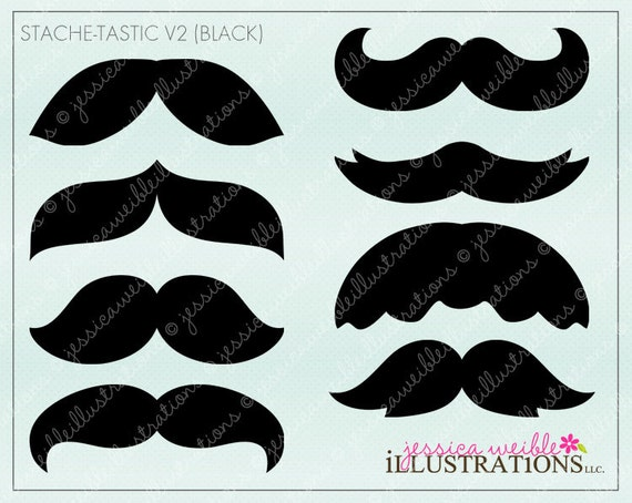 Stache-Tastic V2 Black Cute Printable Moustache Birthday Party Favors, Moustache Clipart