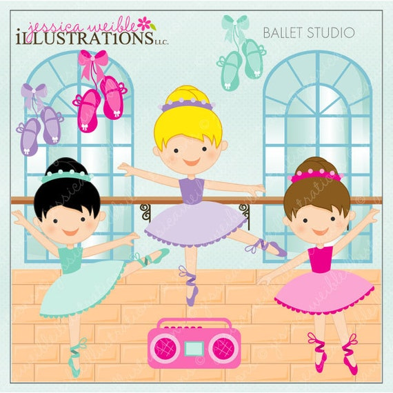 Ballet Studio, Ballerina Cute Digital Clipart for Card Design, Scrapbooking, and Web Design, Ballerina Clipart