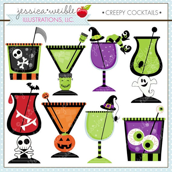 Creepy Cocktails Cute Digital Clipart for Card Design, Scrapbooking, and Web Design