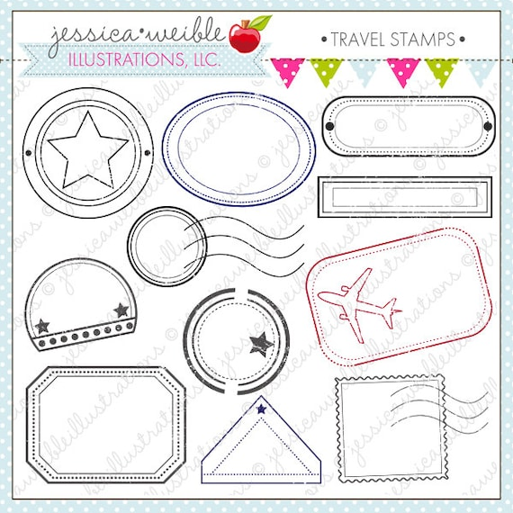 Travel Stamps Cute Digital Clipart For Commercial And