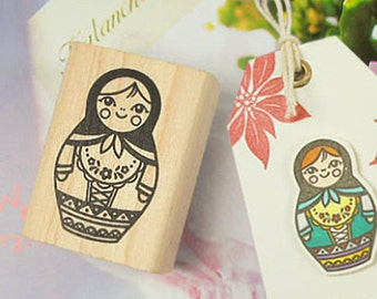 Russian Tumbling Doll Matryoshka Stamp - M (1.2 x 1.6in)