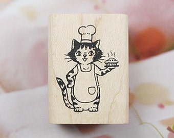 Patisserie Le Chat Cat Stamp - Ver. 2 (1.2 x 1.6in)