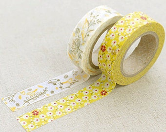 2 Set - Sarah Yellow Flower Adhesive Masking Tapes (0.6in)