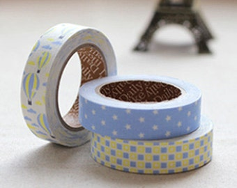 3 Set - Voyage Blue Balloon Star Square Adhesive Fabric Tapes (0.6in)