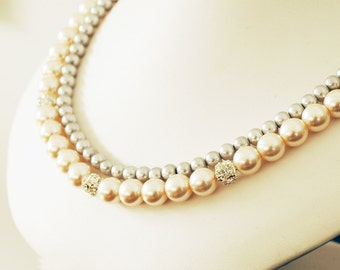 Leslie Plus Design the Perfect Bridesmaid Necklace-Pearl Double w Rhinestones Strand Necklace w/Ribbon Tie Custom WEDDING JEWELRY