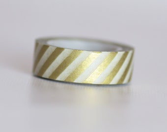 Gold Stripes Washi Tape-  Single Roll 10 m