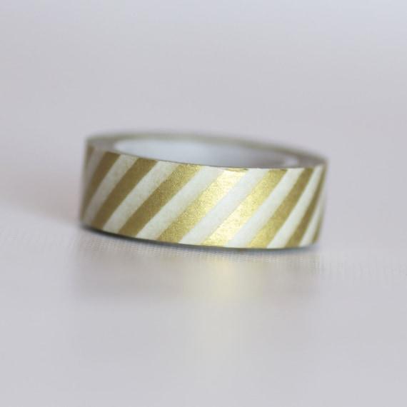 Gold Stripes Washi Tape-  Single Roll 10 m