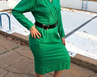 Vintage Green Secretary Dress // Made in USA // 1980s