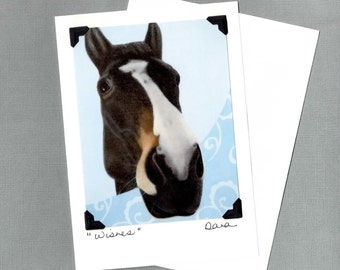 Horse Card - Mustang on Blue Scroll Background - Fun Horse Art Postcard and Greeting Card - 10% Benefits Horse Rescue