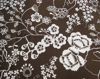 Brown and White Floral Fabric, FLowers, 100% cotton, Brother Sister Design Studio