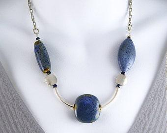 Blue Coral Statement Necklace. Blue artisan Ceramic.