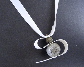 Statement Necklace. Rubber Cord  and  Ceramic Pendant in White and Gray