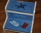 Kids Personalized  2 Step Stool - Western Cowboy Rodeo design