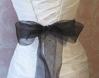 Black Organza Ribbon, 2.75 Inch Wde, Ribbon Sash, Bridal Sash, Wedding Belt, 4 Yards