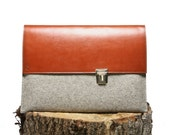 Laptop Case 15 inch Macbook Pro - Sleeve Grey Wool Felt with Brown Leather