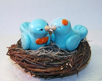 Custom Wedding Nest Cake Topper Birds - Colors of Choice - shown in Aqua/Light Teal and Orange