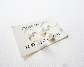 """14 KT gold ear wires """"pierced ear look"""" vintage earrings"""