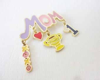 vintage world greatest mom brooch colorful enamel signed DM