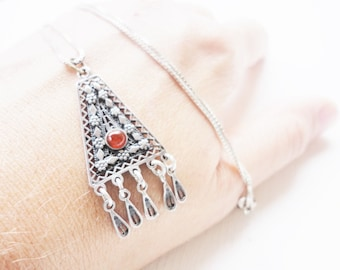 vintage sterling pendant necklace silver 925 filigree and dangles with red stone