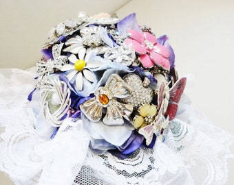 bridal brooch bouquet wedding bouquet with vintage brooches READY TO SHIP