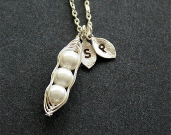 Pea Pod necklce, Silver Peapod Necklace, Three peas in Pod, Sterling Silver, Personalized Initial Peapod Necklace, Two Initials, Monogram