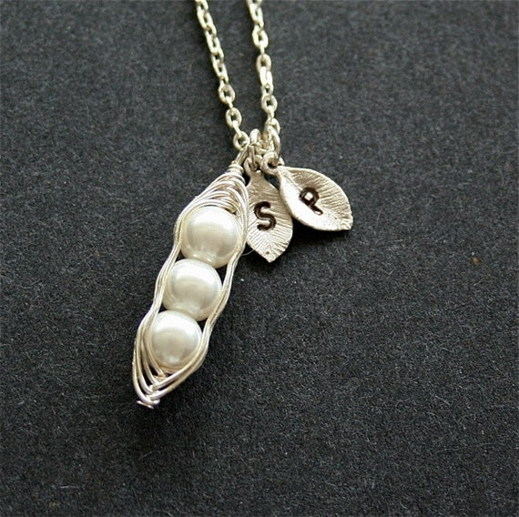 Pea pod necklace, personalized initial necklace, bridesmaid gift, family necklace, mother gift, sterling silver available