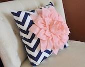 Light Pink Dahlia on Navy and White Zigzag Pillow -Chevron Pillow- 16x16