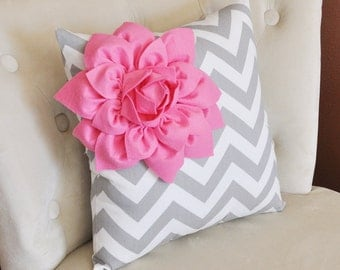 Pink Corner Dahlia on Gray and White Zigzag Pillow 14 X 14 -Chevron Flower Pillow- Zig Zag Pillows