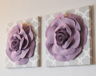 Lilac Roses on Neutral Taupe/Gray Tarika 12 x 12 Canvases NEW COLOR - Light Purple Nursery Decor