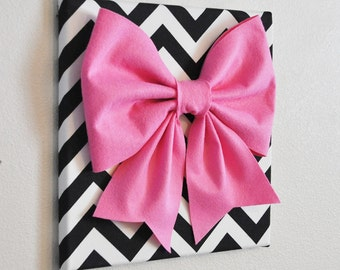 "Wall Decor - Large Pink Bow on Black and White Chevron 12 x12"" Canvas Wall Art- Baby Nursery Wall Decor- Zig Zag"