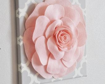 "Rose Wall Hanging- Light Pink Rose on Neutral Gray Tarika 12 x12"" Canvas Wall Art - Nursery Decor"