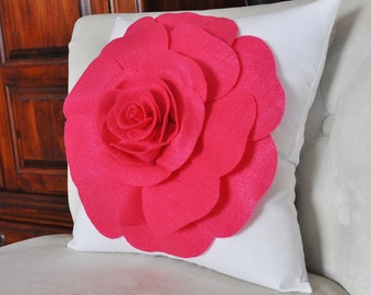 Hot Pink Rose on White Pillow Dorm Decor