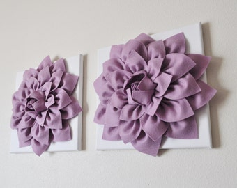 "TWO Wall Flowers -Lilac Dahlia on White 12 x12"" Canvas Wall Art- Baby Nursery Wall Decor-"