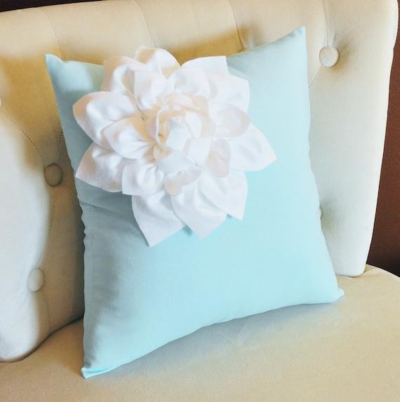 Light Aqua Throw Pillow : Decorative White Corner Dahlia on Light Aqua Pillow 14 X 14