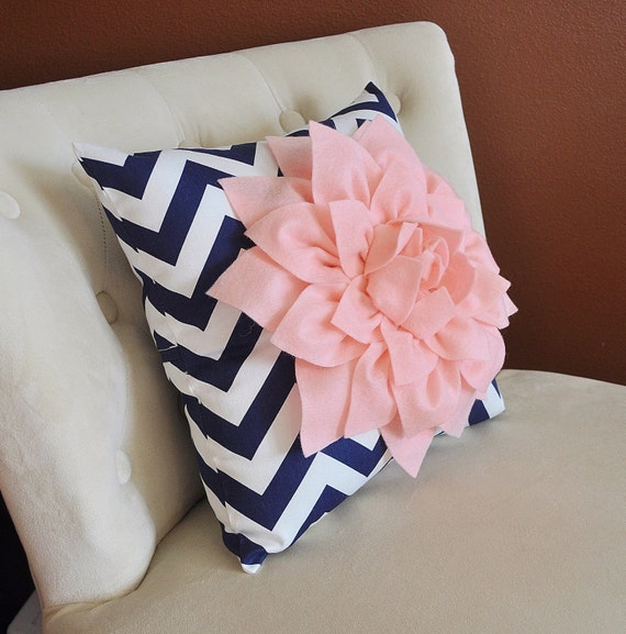 navy pillow with light pink dahlia decorative pillows throw. Black Bedroom Furniture Sets. Home Design Ideas