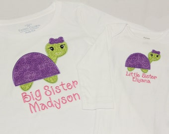 Big Sister Shirt, Little Sister Shirt - Turtles