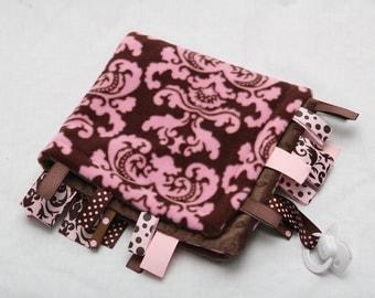 Baby RIbbon Tag Blanket - Minky Binky Blankie -- Pink Brown Damask