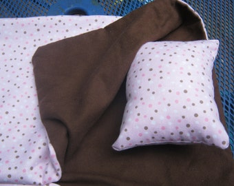 18 Inch Doll Sleeping Bag, pink and brown polka dot doll bedding for 18 inch doll