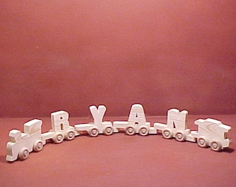 Handcrafted Wood Toy  4 Letter Name Train  unfinished or finished