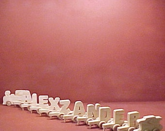 Handcrafted Wood Toy  10 Letter Name Train  unfinished or unfinished