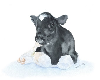 Cow Calf Watercolor Painting 10 x 8 Fine Art Giclee Reproduction Nursery Art 11 x 8.5